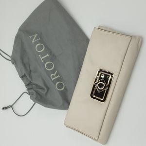 Oroton Soft Cream/White leather fold over long clutch